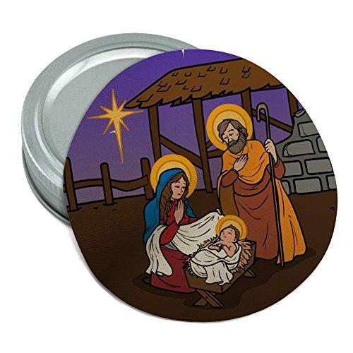 (Nativity Scene Baby Jesus Mary Joseph Christmas Christian Bible Round Rubber Non-Slip Jar Gripper Lid Opener)