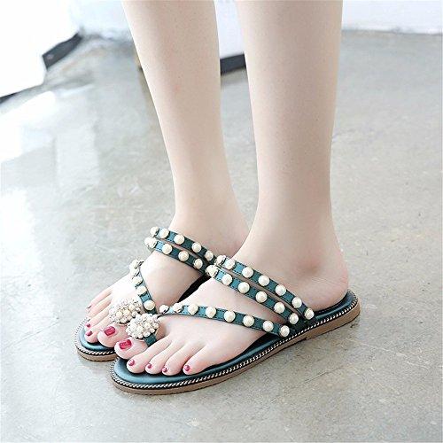 modi piatte indossare toed moda comode open sandali di da green pantofole Signora spiaggia casual YMFIE estate due OxqTR4Zw