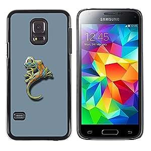 Caucho caso de Shell duro de la cubierta de accesorios de protección BY RAYDREAMMM - Samsung Galaxy S5 Mini, SM-G800, NOT S5 REGULAR! - Cute Funny Minimalist Gecko Gecko Lizard