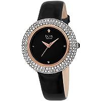 Burgi Women's BUR199BKR Swarovski Crystal & Diamond Accented Rose Gold & Jet Black Leather Strap Watch