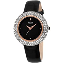 Burgi Women's BUR199BKR Swarovski Crystal & Diamond Accented Rose Gold & Jet Black Leather Strap Watch