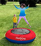 HearthSong Portable Inflatable Trampoline for Kids - Thick, Coated PVC Mesh - Easy Deflation for Travel and Storage - 21 H x 75 diam. (Inflated)