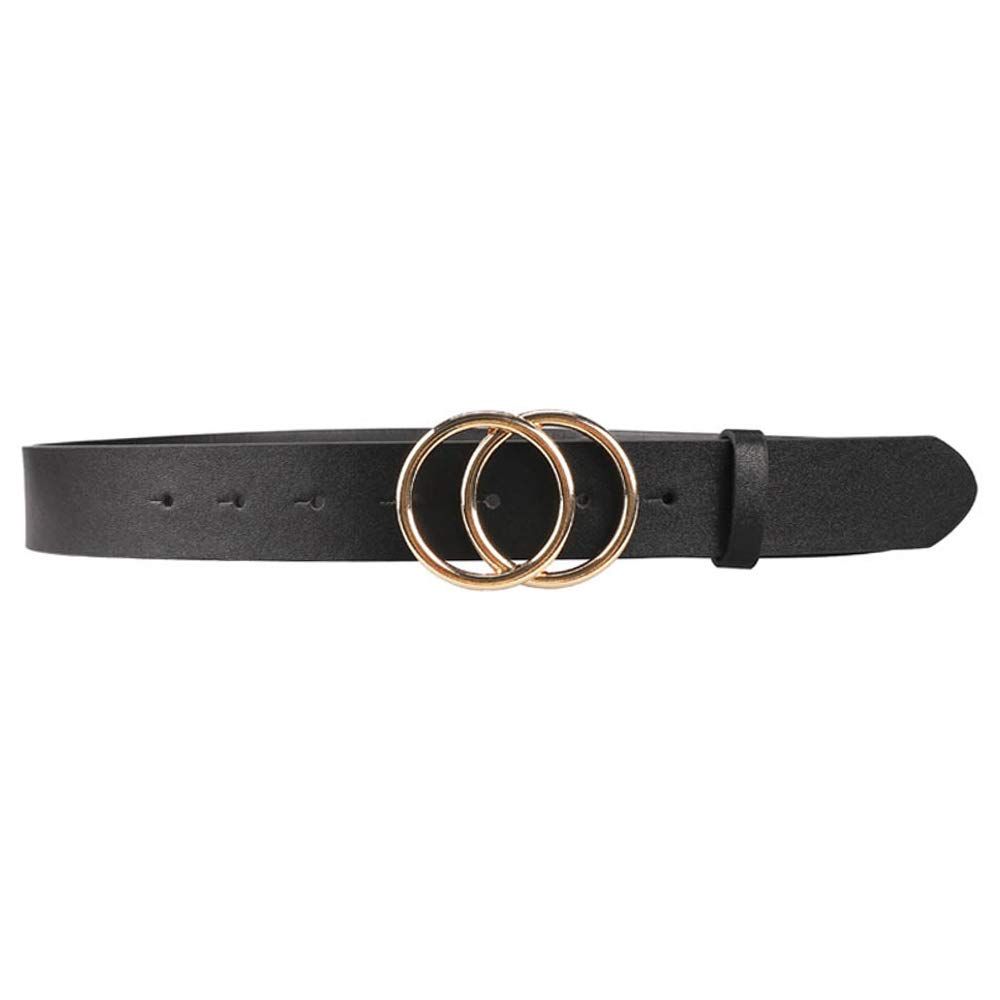 fits waist like 27.5-33.5 Until-U Women Leather Belts Fashion Style Leather Waist Belts with Double Ring Buckle for Jeans Dress Pants Black Gold Small