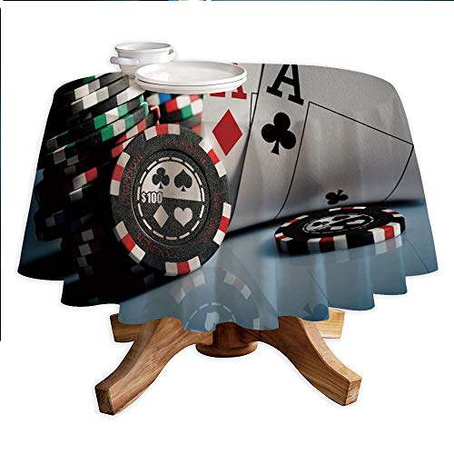 Poker Tournament Decorations Round Polyester Tablecloth,Gambling Chips and Pair Cards Aces Casino Wager Games Hazard,Dining Room Kitchen Round Table Cover,60