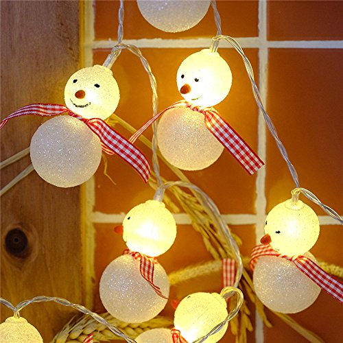 owman Battery Operated String Lights For Christmas Indoor Outdoor Room Decoration (Snowman) (Snowman Light String)