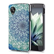 kwmobile Crystal Case for LG Google Nexus 5 with Design flower ornament - transparent Protection Case Cover clear in blue green transparent