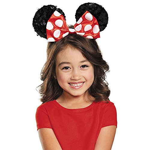 Disguise Costumes Red Minnie Sequin Ears, Girls, Red / Black, One Size