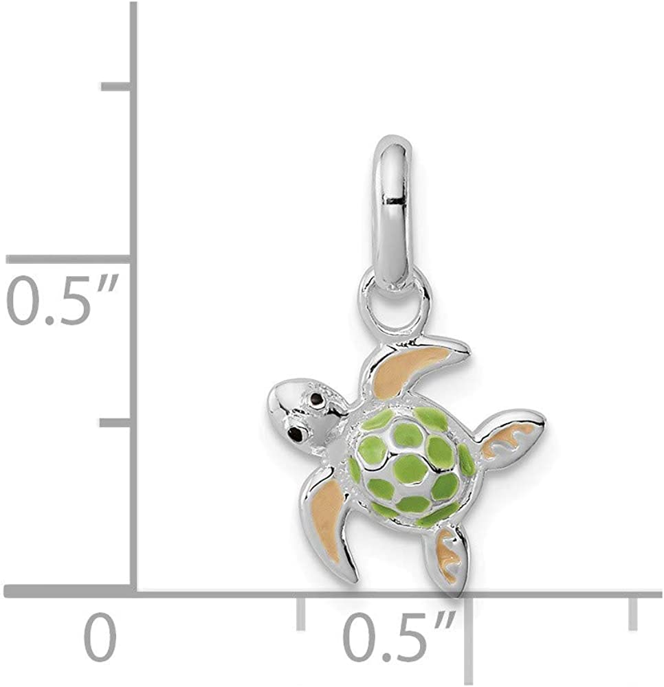 Solid 925 Sterling Silver Childrens Enameled Sea Turtle Pendant