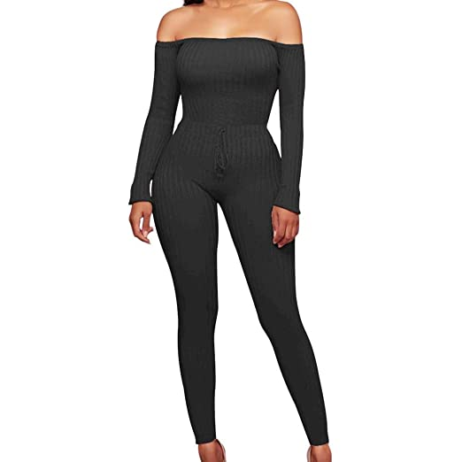 ce1222373ec72 Women s Sexy Long Sleeve Off Shoulder Crop Top Drawstring Knitting Bodycon  Jumpsuits Rompers (S