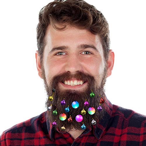 DecoTiny 20pcs Light Up Beard Ornaments, 16 Pcs Sounding Jingle Bells, 4 Pcs Beard Lights Beard Bauble Ornaments, Great Christmas and New Year Festival Gift