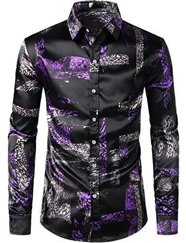 ZEROYAA Men's Luxury Feather Design Slim Fit Silk Like Satin Dress Shirt ZLCL16-Purple Small