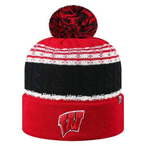 Top of the World NCAA Wisconsin Badgers Men's Winter Knit Altitude Warm Hat, Red