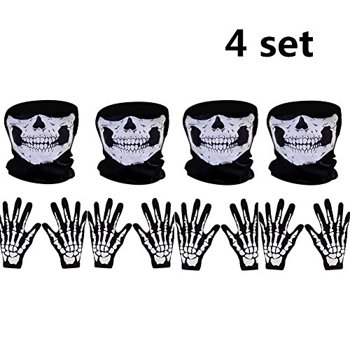 MZYARD 4 Set White Skeleton Gloves Skull Face Mask Ghost Bones Adult Halloween Dance Party Costume by MZYARD