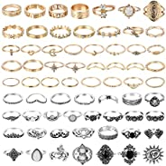 PANTIDE 67Pcs Vintage Knuckle Rings Set Stackable Finger Rings Midi Rings for Women Bohemian Hollow Carved Flo