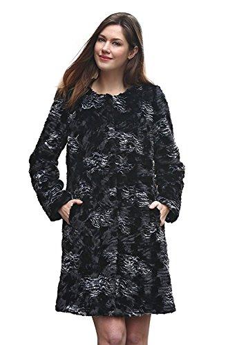 Sable Fur Coat (Adelaqueen Clearance Women's Floral Cloud Print lush Persian Lamb Faux Fur Coat Size XS)