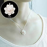 Womens White Snow Lotus Flowers Pendant Necklace Pearl Jewelry (Only Pendant)