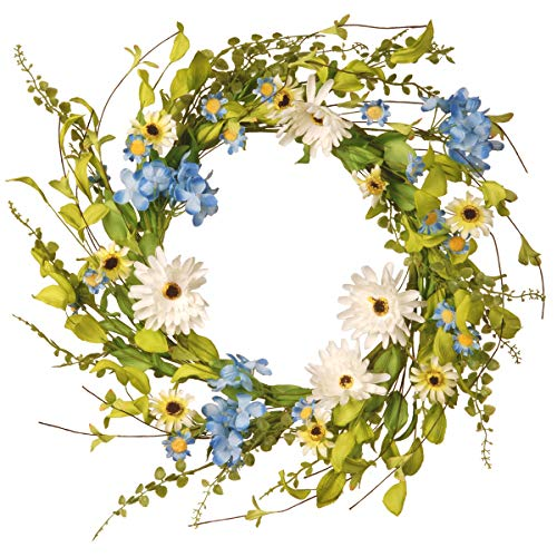 National Tree 20 Inch Floral Branch Wreath with Blue Hydrangeas and White Gerberas ()