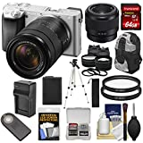 Sony Alpha A6300 4K Wi-Fi Digital Camera & 18-135mm Lens (Silver) Lenses + 64GB Card + Battery + Charger + Backpack + Kit