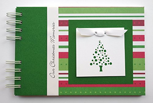 Christmas Photo Album | Christmas Stripes with Christmas Tree | Choose Your Charm and Cover | Small Size Brag Book