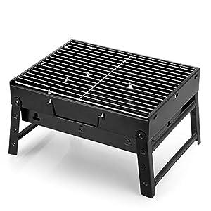 AGM Parrilla de Carbón , 38x27x20cm, Parrilla de Carbón Plegable Portátil para Picnic, viajes, patio o camping en el jardín (3 a 5 personas))