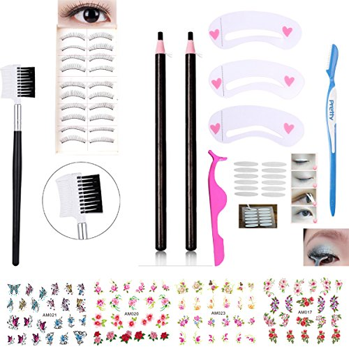 Black Waterproof Eyebrow Pencils False Eyelashes Double Eyelid Tape Eyelash Tweezers Eyebrow Shaper Brush Comb Eyebrow Stencils Nail Stickers Eye Makeup Set Kit (AABB005A) (Nail Shaper Kit)