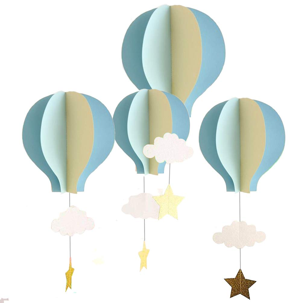 AZOWA 8 Pcs Large Size Hot Air Balloon 3D Paper Garland Hanging Decorations for Wedding Baby Shower Birthday Party Decorations (Blue, 8 Pcs)