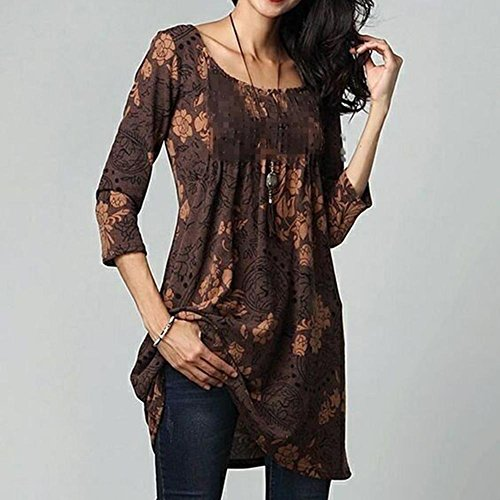 Tunique Grande Tops Juleya en Shirt S T Casual Marron Floral Vrac Femmes imprim Taille 5XL fYHgwq8Yx