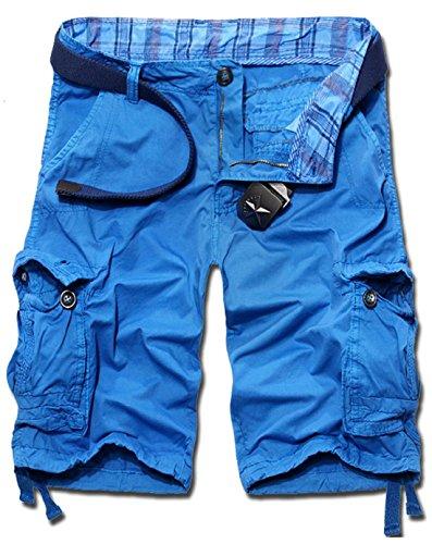 KIWEN® Men's Summer Casual Wear Cotton Muti-Pocket Cargo Shorts(Blue,US:34 SIZE)
