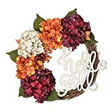 FAVOWREATH 2018 Vitality Series FAVO-W129 Handmade 16 inch Hydrangea,Hello Fall Letter,Laurel/Eucalyptus Leaf,Grapevine Wreath Summer/Fall Front Door/Wall/Fireplace Floral Hanger Home Every Day Decor