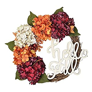 FAVOWREATH 2018 Vitality Series FAVO-W129 Handmade 16 inch Hydrangea,Hello Fall Letter,Laurel/Eucalyptus Leaf,Grapevine Wreath Summer/Fall Front Door/Wall/Fireplace Floral Hanger Home Every Day Decor 21