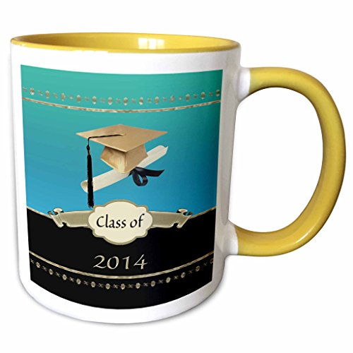 3dRose Beverly Turner Graduation Design - Gold Graduation Cap with Diploma with Gold Banner on Aqua and Black - 15oz Two-Tone Yellow Mug (mug_172591_13)