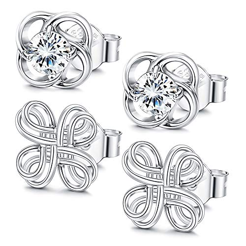 Fiasaso 2 Pairs Sterling Silver Celtic Knot Earrings for Women Hypoallergenic Triangle Cross Flower Knot Studs