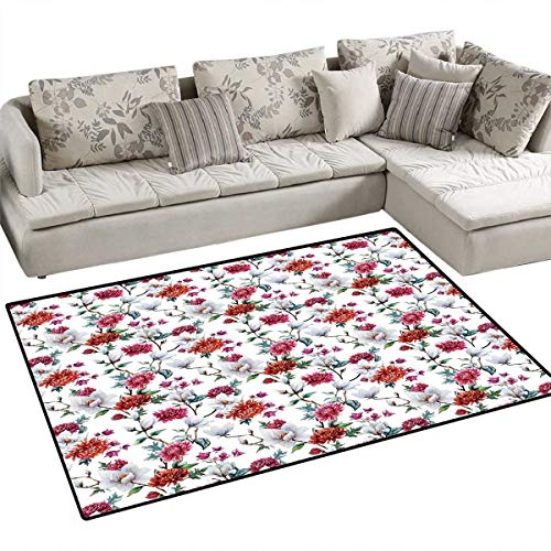 "Flower Floor Mat for Kids Romantic Magnolia and Chrysanths Moms Flowering Plants English Petals Design Bath Mat Non Slip 55""x63"" White Red Pink"