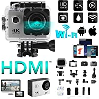 XCSOURCE 4K WIFI Sports Action Camera 2.0 LCD Display Ultra HD Water-resistant Cam 12MP DV Camcorder with Remote Control Wide Angle with Accessories Kits LF833