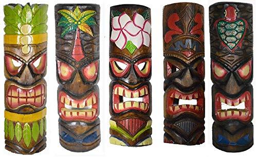 "20"" Large Set of 5 Polynesian Hawaiian Tiki Style Wall Masks"