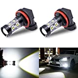xenon universal fog lights - Antline H11 H8 LED Fog Lights Bulb Xenon White 2-Pack, 1200 Lumens High Power 50W Replacement Lamps with Projector for Driving Fog Lights, Daytime Running Lights (DRL)
