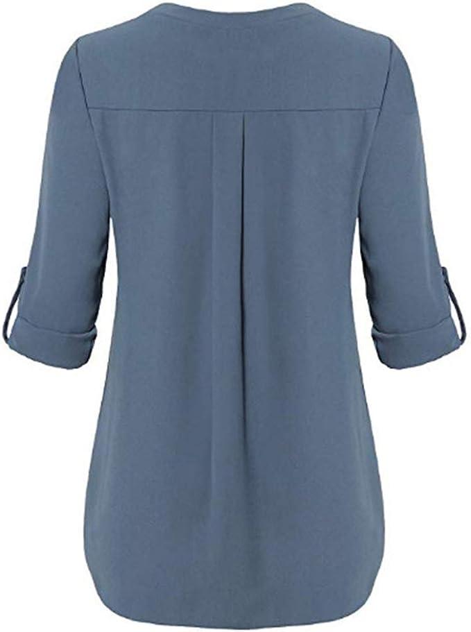 Fidoz elegancka damska bluzka z szyfonu, dekolt w kształcie litery V, z długim rękawem, koszulka z długim rękawem, jednokolorowa: Odzież