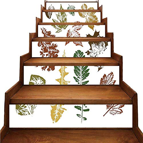 Leaf Nice Stairs Sticker,Autumn Spring Maple Oak Various Tree Leaves in Grunge Style Art Decorative for Home,39.3