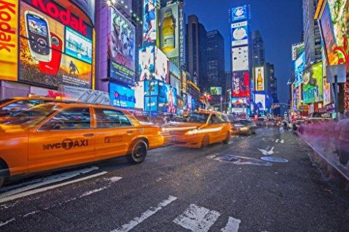 (Laminated Times Square Midtown Manhattan New York City NYC Illuminated Photo Art Print Sign Poster 18x12 inch)
