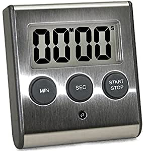Elegant Digital Kitchen Timer Stainless Steel Model eT-23 SUPER Strong Magnetic Back Loud Alarm Large Display Auto Memory Auto Shut-Off