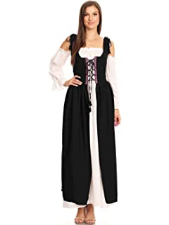 Anna-Kaci Womens Renaissance Overdress Medieval Irish Off Shoulder Dress Set