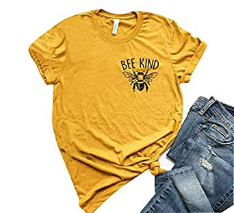 YEMOCILE Womens Bee Kind T Shirt Casual Cute Short Sleeve O-Neck Graphic T-Shirt Tops Tees Soft Tops Yellow