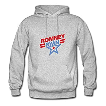 X-large Women Mitt Romney, Paul Ryan, 2012 Election Chic Custom-made Grey Cotton Hoodies
