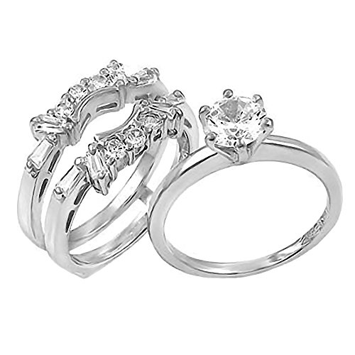 Sterling Silver 2.0ct Brilliant-cut Ice on Fire CZ - Fire And Ice Wedding Ring Sets