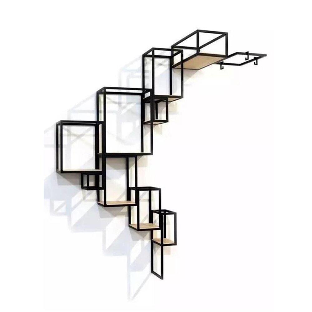 WENZHE 棚ウォールシェルフ,壁挂架搁板 コーナーシェルフ 幾何形状 無垢材 本棚 リビングルーム ディスプレイスタンド シンプル 産業風、 アイアンアート、 100x140cm B07FBDN9PQ