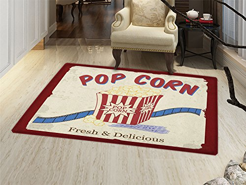 Movie Theater Door Mat indoors Fresh and Delicious Pop Corn Film Tickets and Strip Advertising in 60s Theme Customize Bath Mat with Non Slip Backing Multicolor by smallbeefly