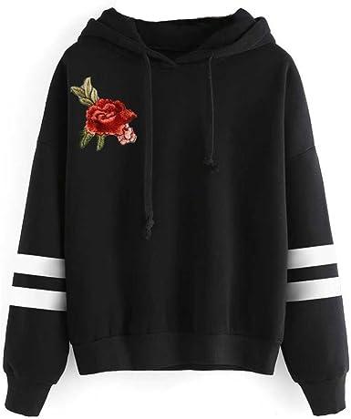 Zulmaliu Girl Sweatshirt Fashion Rose Print Long Sleeve Crop Top Hoodies