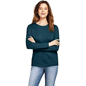 eaffe276 Lands' End Women's Petite Supima Cotton Long Sleeve T-Shirt - Relaxed  Crewneck