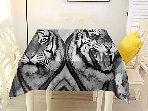 L'sWOW Square Tablecloth Protector Safari Cat Expression Opposite Images Fearsome Teeth Mirror Angry Intense Wildlife Pale Grey Black Clamps 60 x 60 Inch ()