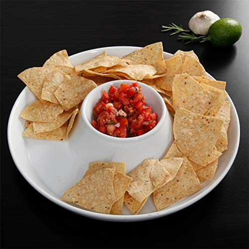 Chip and Dip Serving Bowl, Elegant Serving Dish - Great for Chips, Dips, Appetizer, Fruit Bowl, Salad and Snack – Ceramic Chips and Dip Plate